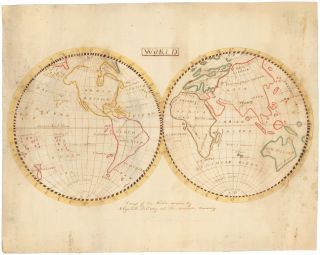 """[Five manuscript """"school"""" maps, including maps of the World, United States, Kentucky, South America and Africa.]"""