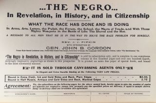 The Negro In Revelation, In History and in Citizenship. What the Race Has Done and is Doing in Arms, Arts, Letters, The Pulpit, the Forum, The School, The Marts of Trade and With Those Mighty Weapons in the Battle of Life the Shovel and the Hoe. A Message to All Men That He is in the Way to Solve the Race Problem for Himself.