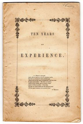 Ninth Annual Report of the Boston Female Anti-Slavery Society. Presented October 12, 1842. [Cover title: Ten Years of Experience.]