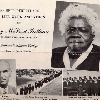 To Help Perpetuate The Life Work and Vision of Mary McLeod Founder President Emeritus Behune Cookman College Daytona Beach Florida.