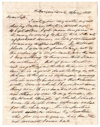 Letter from an Early Texas Settler and Plantation owner.]. Silas Parsons