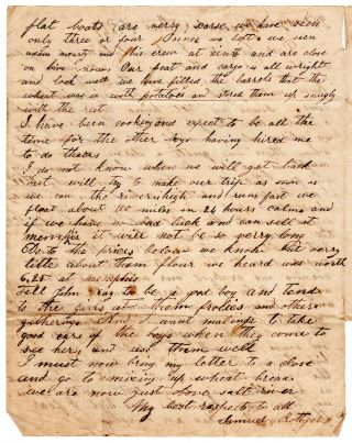 [Letter of a flatboatman on the Ohio river.]