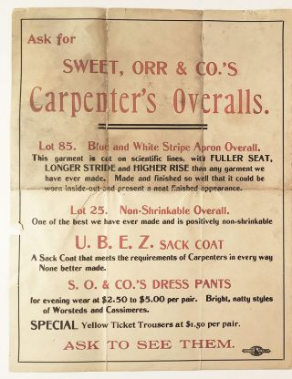 Of Special Interest to Carpenters. From Local Union No. 18. United Garment Workers of America.