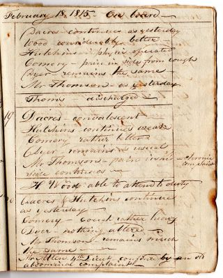 Diary of the sick on board of the Mammoth. J[onathan]. Rowland Esq. Commander in Portland Harbor.