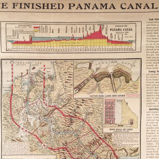 """The Finished Panama Canal. Svenska Amerikanaren. Amerikas mest lästa och bäst omtyckta svenska tidning [""""America's most read and best-liked Swedish newspaper""""]. Birdseye View of the Panama Zone Showing the U.S. Isthmian Canal from the Latest Official Date Furnished by the Isthmian Canal Commission [map-title]."""
