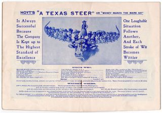 A Texas Steer Encyclopedia: New Production of Hoyt's A Texas Steer. [cover title: Inquire Within; on verso, A Straight Steer].
