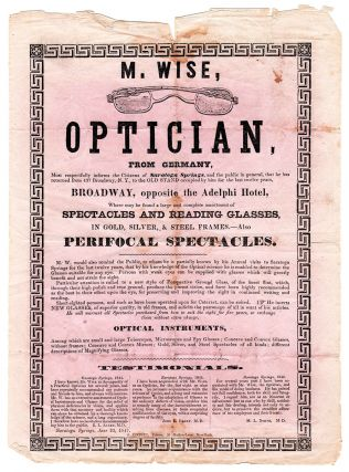 M. Wise, Optician, from Germany, Most Respectfully Informs the citizens of Saratoga Springs…
