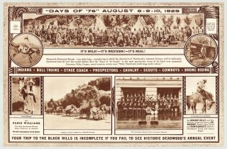 """""""Days of '76"""" August 8-9-10: Deadwood, The Historic City of the Black Hills."""