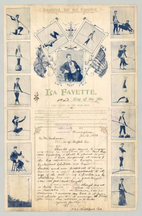 Emulated, But Not Equaled. La Fayette, King of the Air. [Autograph letter on a tightrope...
