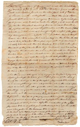 Agreement between Jewett & Groves. Jan[uar][y 12 1795