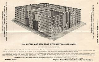 E. T. Barnum, Detroit, Mich. Manufacturer of Jail Cells. All Kinds of Steel and Iron Jail Work.