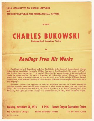 Charles Bukowski, Distinguished American Writer in Readings From His Works