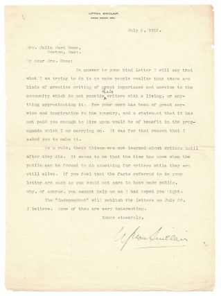 Upton Sinclair to Julia Ward Howe.]. Upton Sinclair