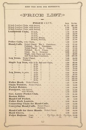 Catalogue of Bean's Patent Police Equipments.