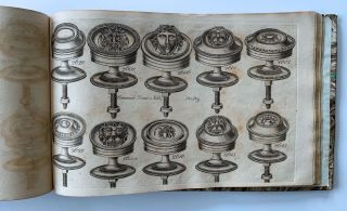 Engraved trade catalogue of cast and stamped brass furniture fittings, household hardware and...