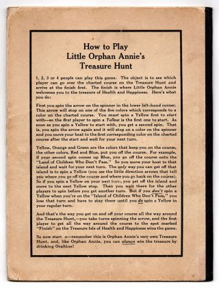 """Little Orphan Annie's Treasure Hunt [cover title]. """"Here's Health."""" The Ovaltine Way to the Treasure Isle of Health and Happiness."""