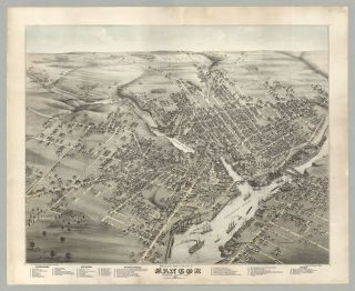 Bird's Eye View of the City of Bangor Penobscot County, Maine. 1875. Augustus Koch, artist