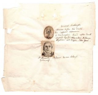 [A pair of original drawings, one being a self-portrait and the other a representation of George Washington's skull].