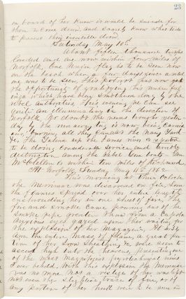 [Onboard the U.S.S. Dacotah in pursuit of the Merrimac during the Civil War, with a vivid description of the Merrimac's destruction, and including important passages describing interactions with runaway slaves, encounters with President Lincoln, and Peltz's experiences with yellow fever].